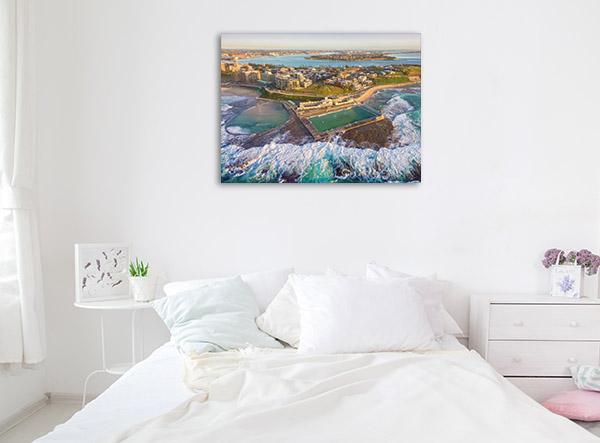 Newcastle Wall Print Ocean Baths Aerial Artwork Picture