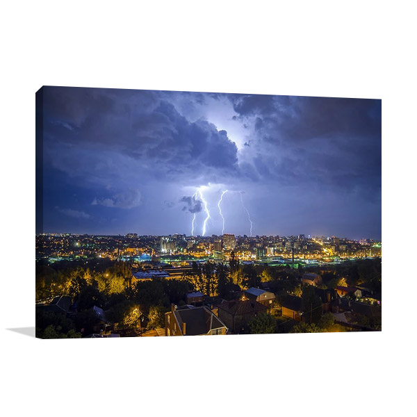 Night City Lightning Canvas Print