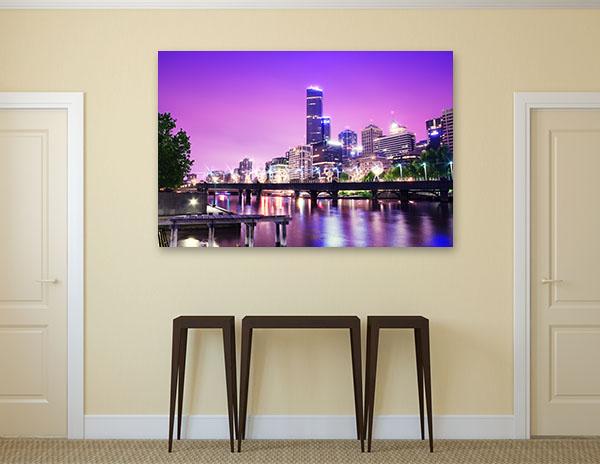 Night Urban City Skyline Melbourne Artwork