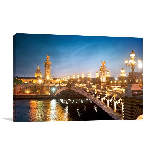 Night Lights in Paris Bridge Canvas Prints
