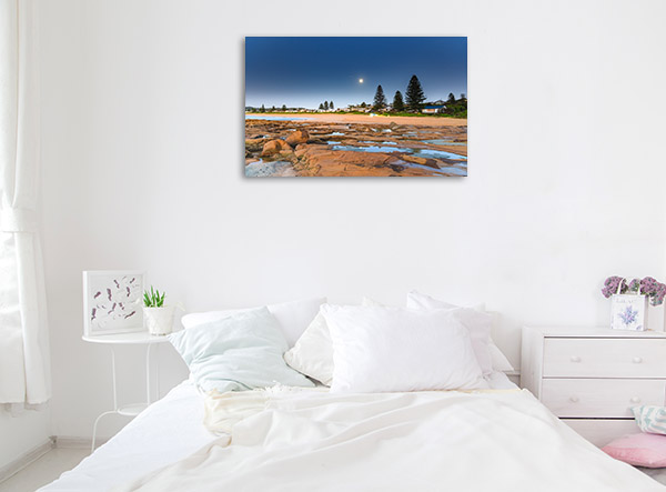 North Avoca Beach Art Print NSW Moonrise Picture Wall