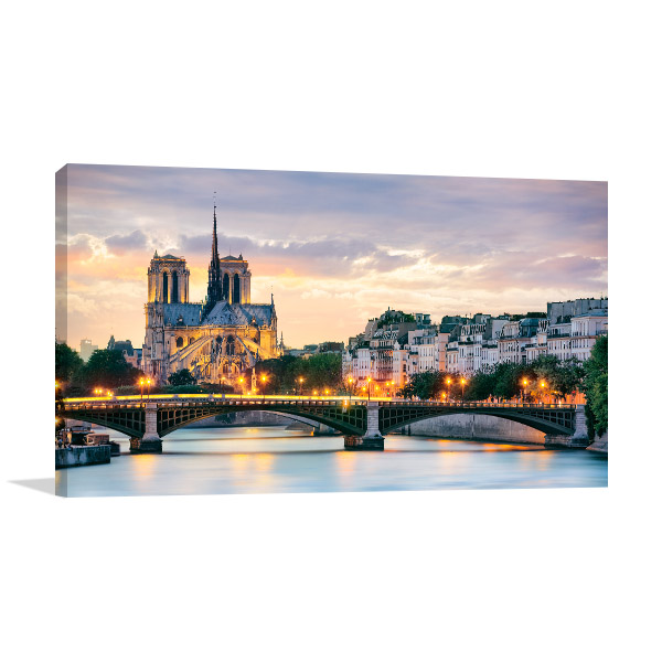 Notre Dame Cathedral At Night Wall Art