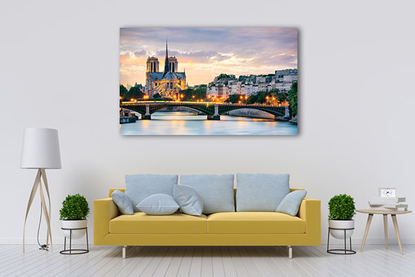 Notre Dame Cathedral At Night Print Artwork
