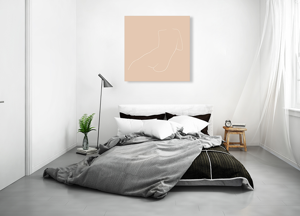 White Line Print on Canvas