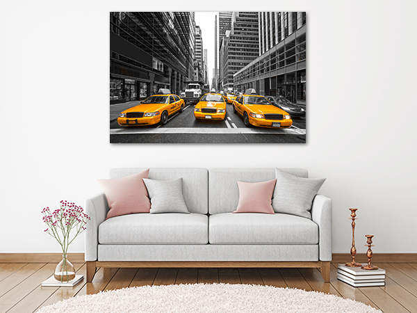 NYC Cabs Art Print on the wall