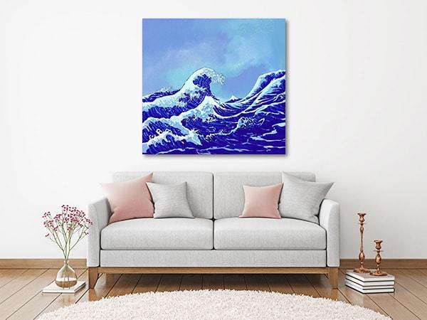 Ocean Waves Wall Art Print on the Wall