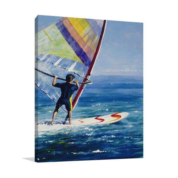 Ocean Wind Surfing Print Canvas