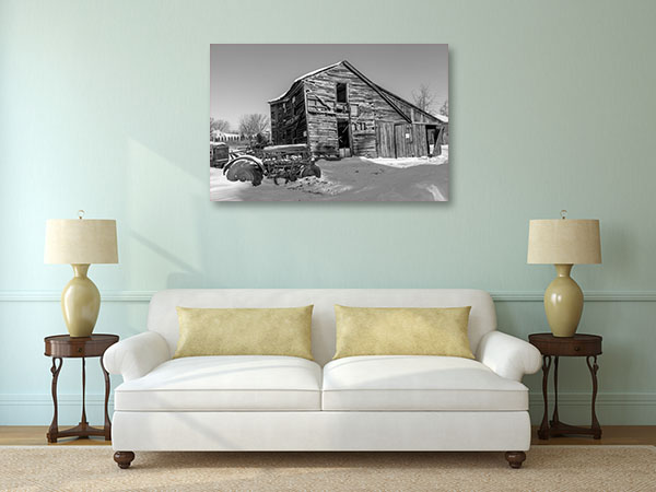 Old Barn and Tractor Prints Canvas