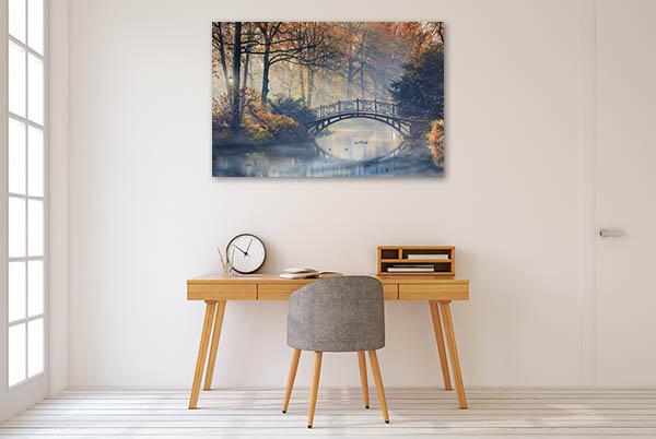 Old Bridge In Autumn Canvas Art Prints