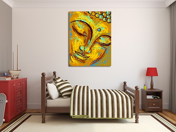 Old Buddha Canvas Prints on the Wall