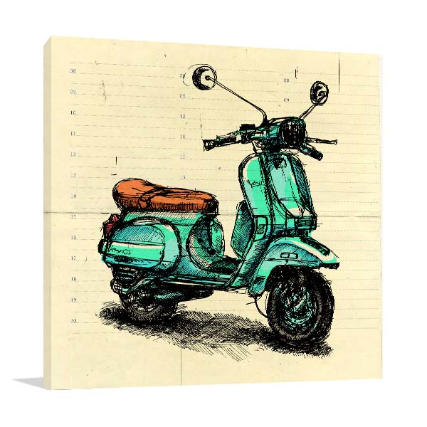 Old Fashion Motor Scooter Wall Art