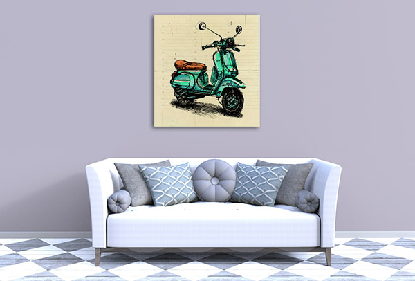 Old Fashion Motor Scooter Canvas Prints