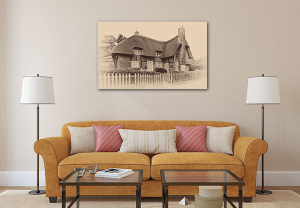 Old Sepia House Canvas Prints