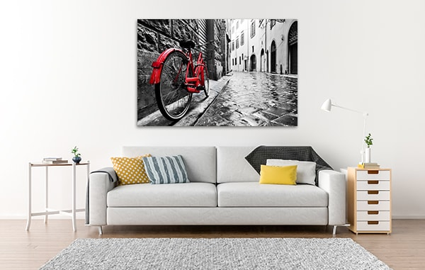 Old Town with Red Bike Prints Canvas