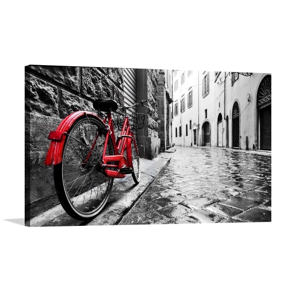 Old Town with Red Bike Art Prints