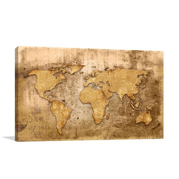 Old Wood Map Artwork