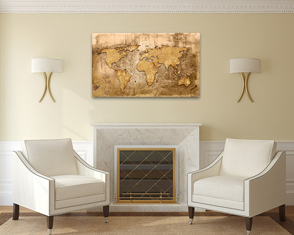 Old Wood Map Canvas Prints
