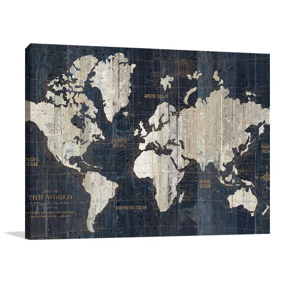 Old World Map Blue Wall Art Print