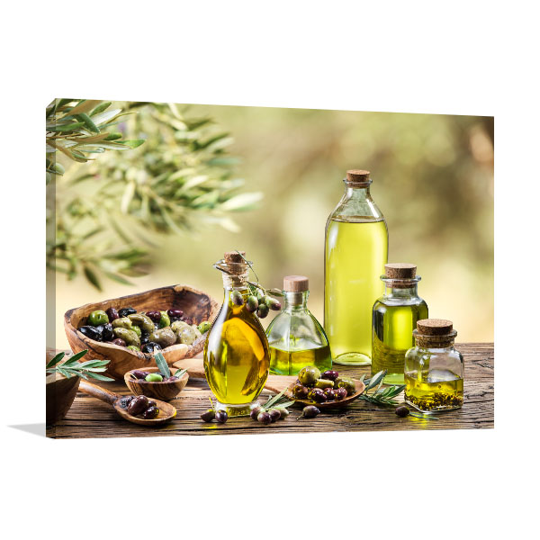 Olive Oil And Berries Canvas Art