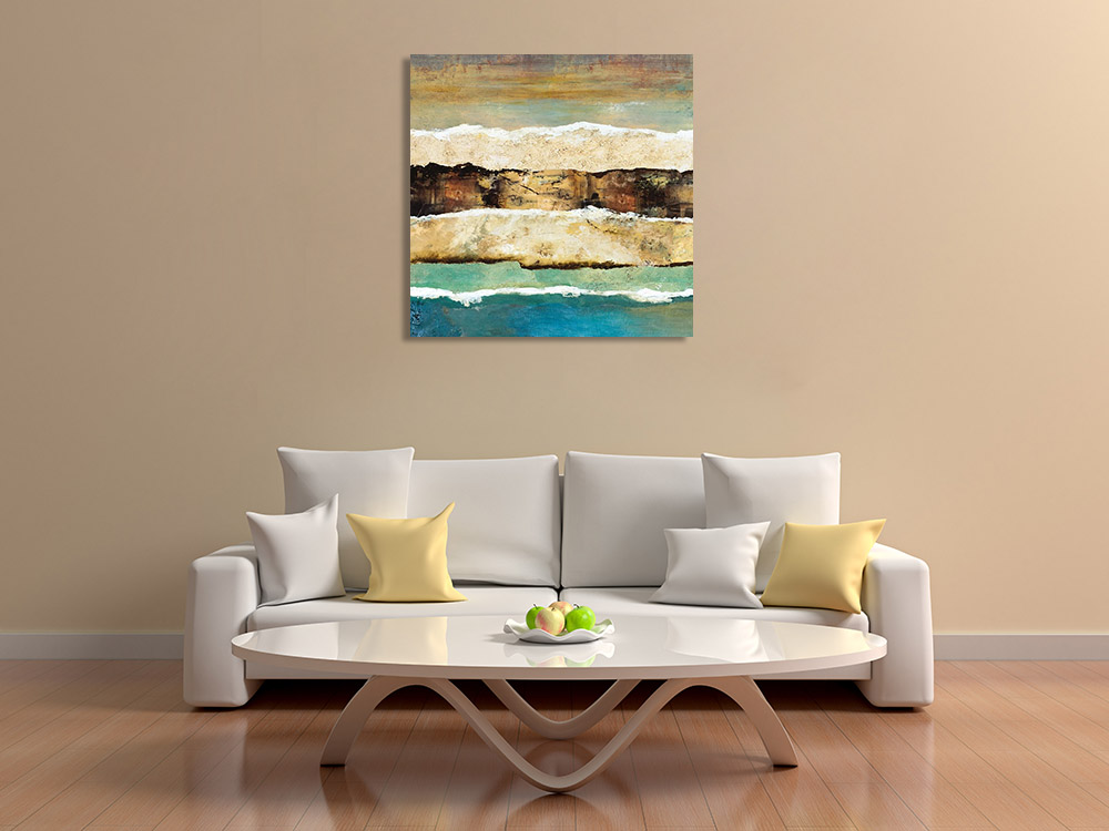 Blue Brown Canvas Abstract Print