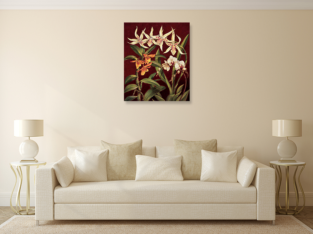 Red Floral Wall Print on Canvas