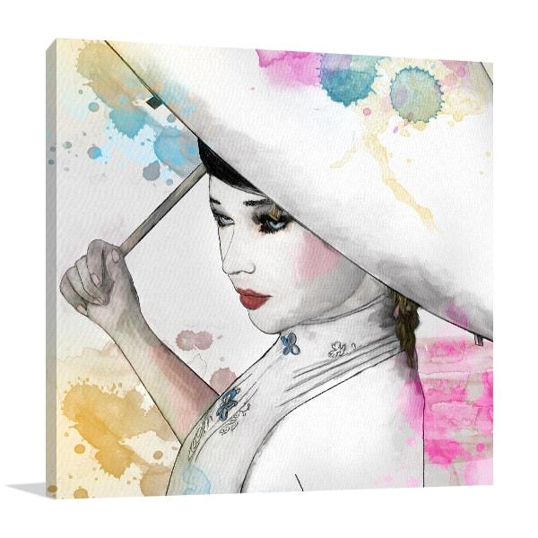 Oriental Girl Canvas Artwork