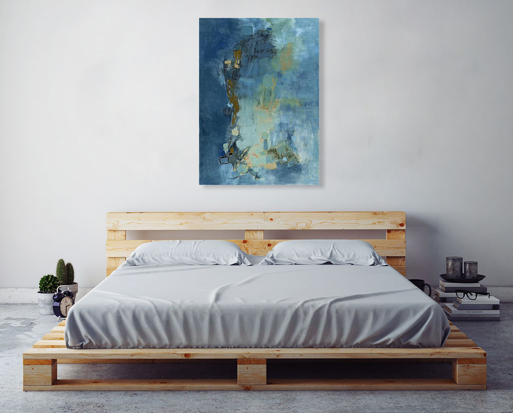 Abstract Online Blue Wall Art Print