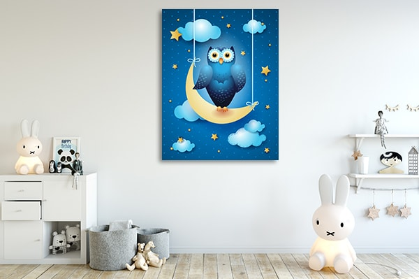 Owl And Moon Prints Canvas