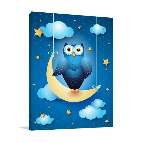 Owl And Moon Canvas Art Prints