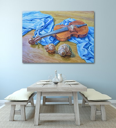 Painted Violin Art Print on the Wall