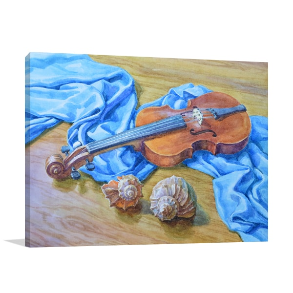 Painted Violin Canvas Artwork