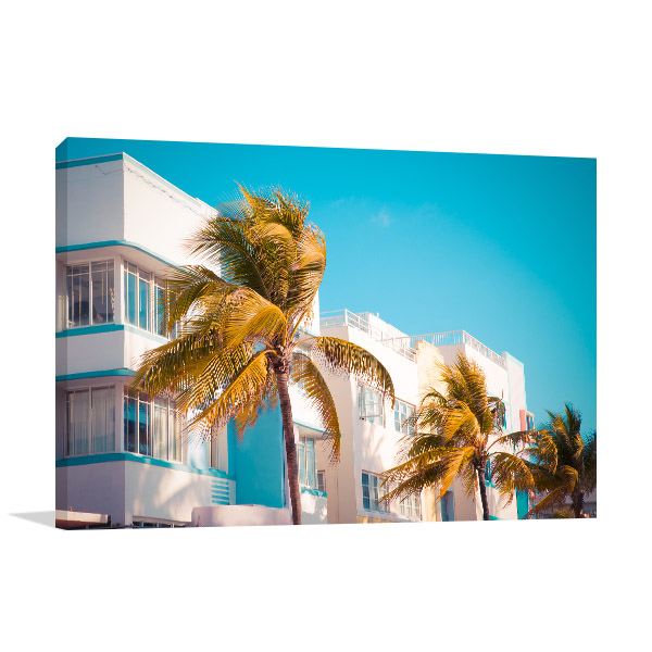 Palm Tree and Buildings Wall Art Photo Print
