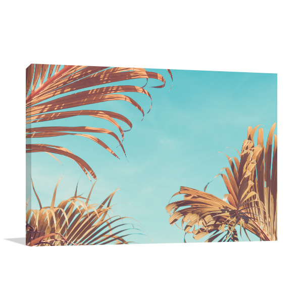 Palm Tree with Sun Light Canvas Art Prints