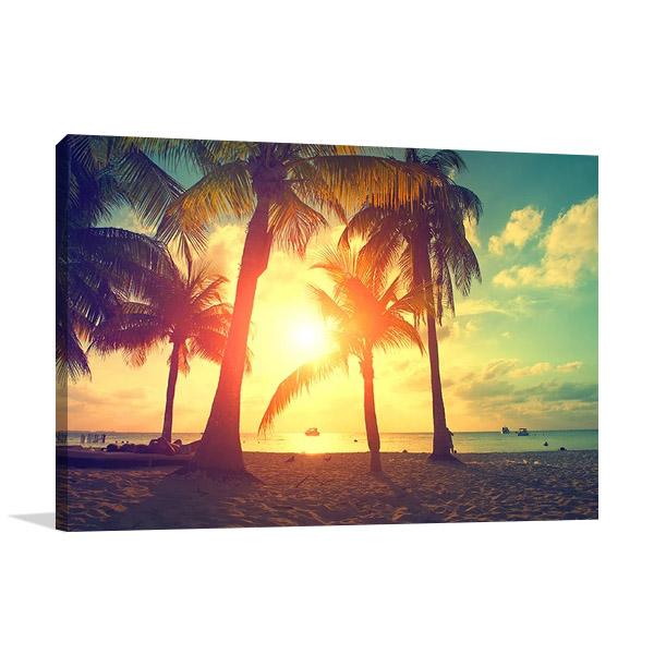 Palm Trees Sunset Wall Art Print
