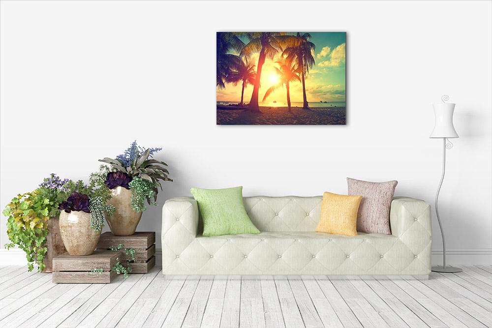 Canvas Print Beach Orange Sunset