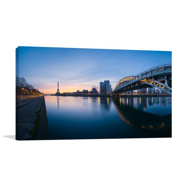 Panoramic River of Paris Prints Canvas