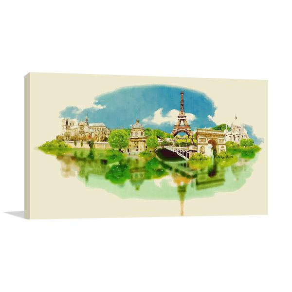 Panoramic View Watercolor Art Prints