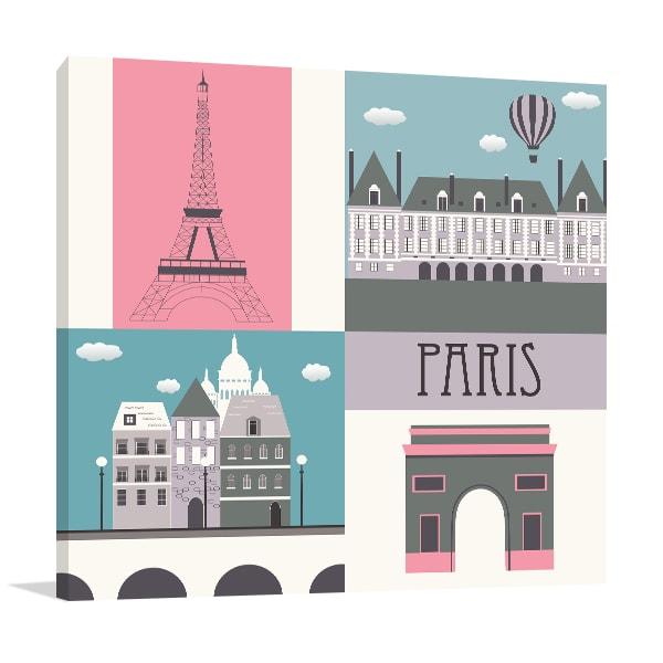 Paris Symbol Prints Canvas