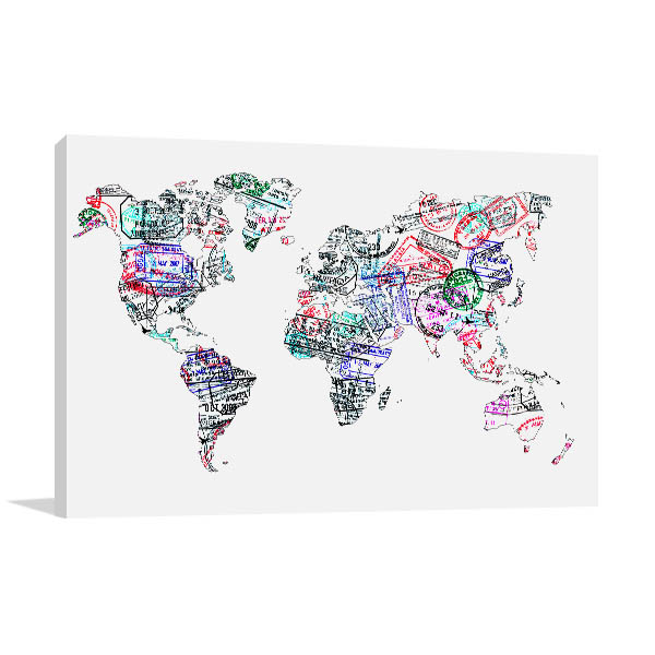 Passport Stamp Map Artwork