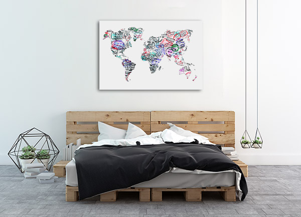 Passport Stamp Map Wall Art