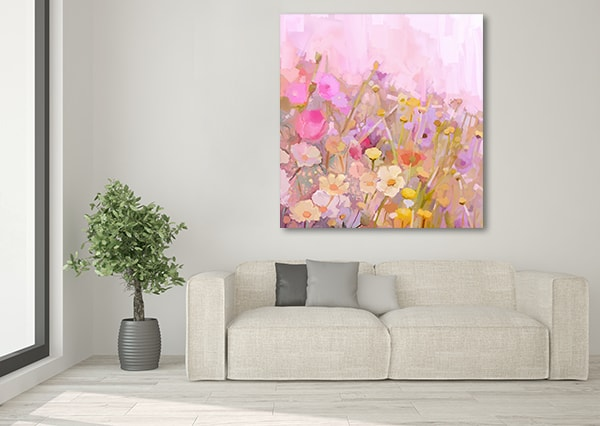Pastel Flowers Artwork on the Wall