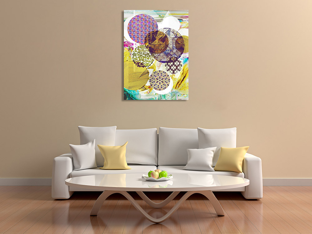 Yellow Purple Abstract Circles Art Print