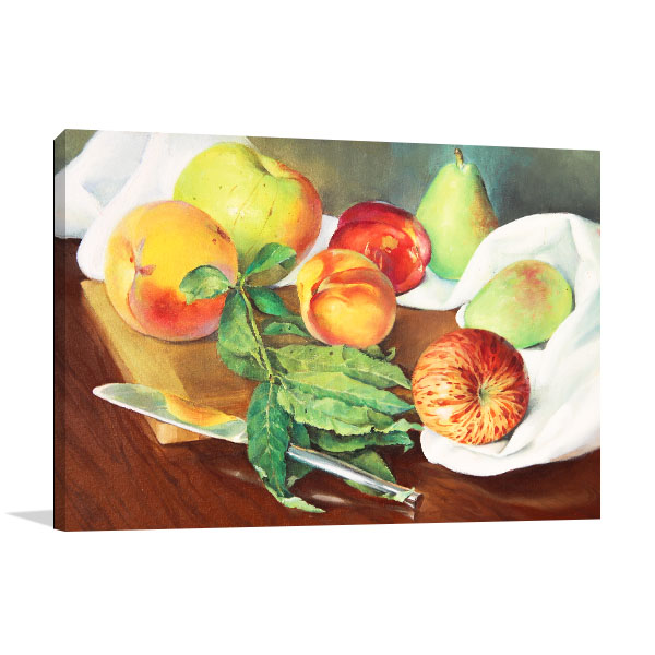 Peaches And Apples In Oil Canvas Art Prints