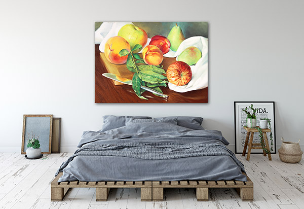 Peaches And Apples In Oil Prints Canvas