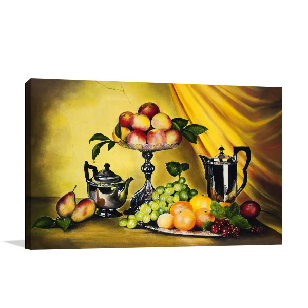 Peaches And Grapes Canvas Prints
