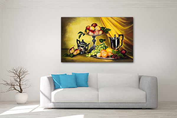 Peaches And Grapes Art Prints