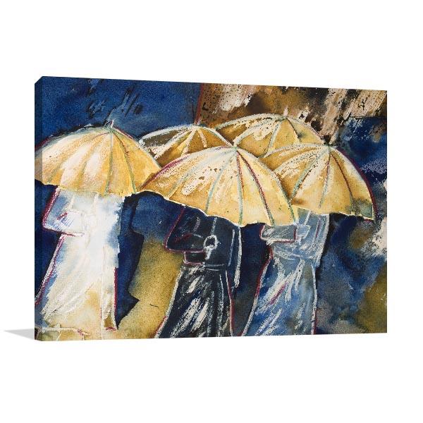 People in Umbrellas Artwork