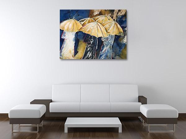 People in Umbrellas Canvas Prints