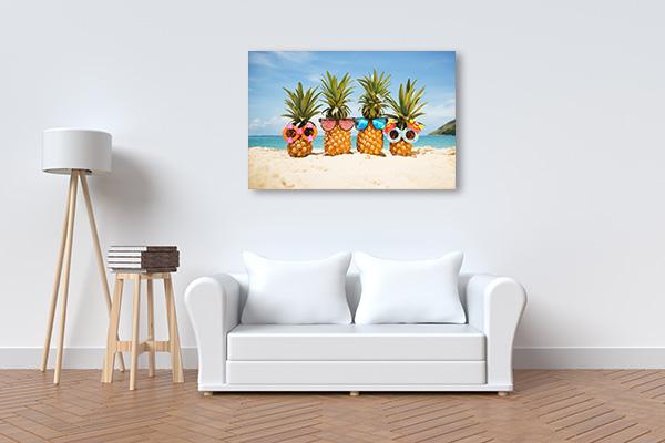 Pineapples At Tropical Island Print Artwork