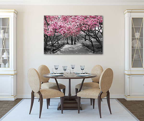 Pink Blossoms In A Park Art Prints